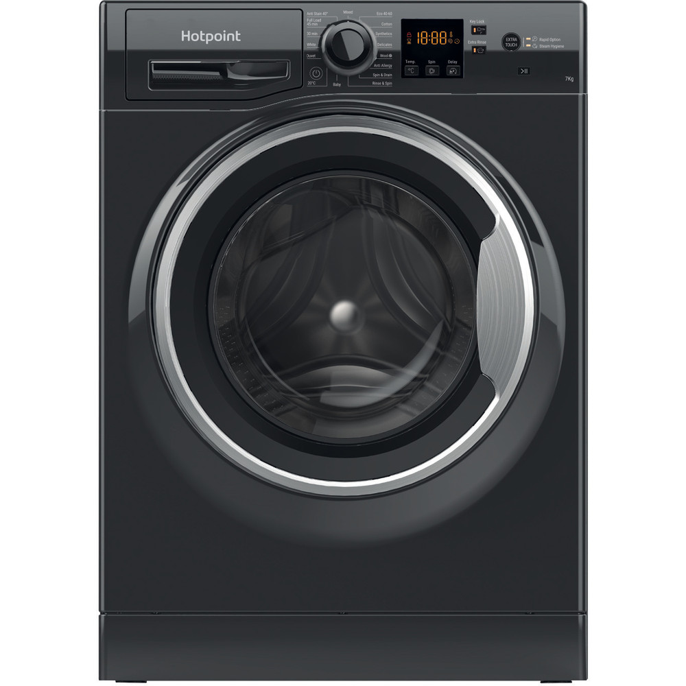 Hotpoint Washing machine Free-standing NSWM 742U BS UK N Black Front loader E Frontal