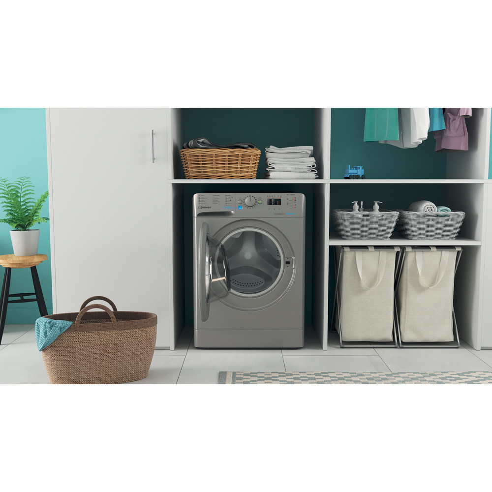 Indesit Washing machine Free-standing BWA 81483X S UK N Silver Front loader D Lifestyle frontal open