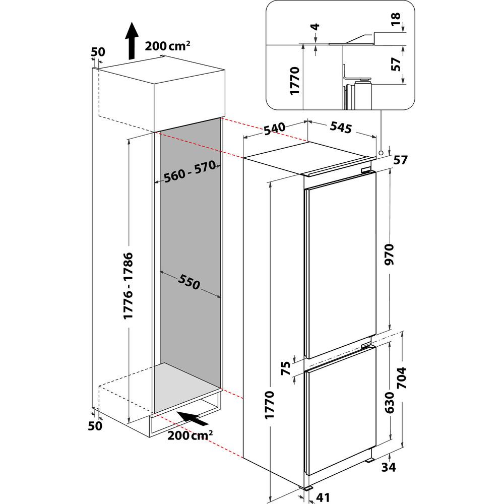 Indesit Комбиниран хладилник с камера Вграден INC18 T311 Бял 2 врати Technical drawing