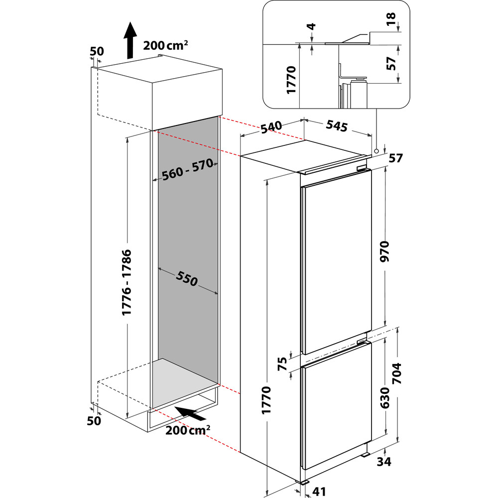Indesit Combinazione Frigorifero/Congelatore Da incasso INC18 T311 Bianco 2 porte Technical drawing