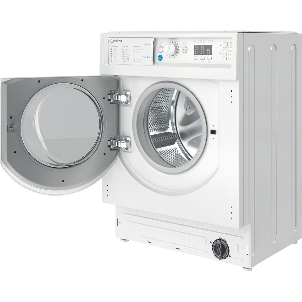 Indesit Washer dryer Built-in BI WDIL 75125 UK N White Front loader Perspective open