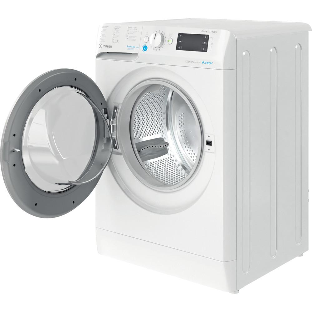 Indesit Lavadora secadora Libre instalación BDE 861483X WS SPT N Blanco Cargador frontal Perspective open