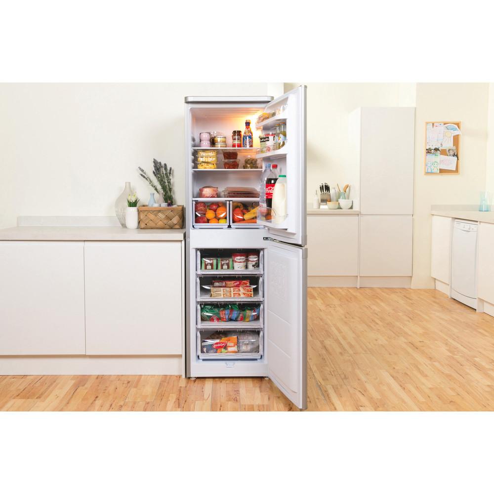 Indsit Racitor-congelator combinat Independent CAA 55 S 1 Silver 2 doors Lifestyle frontal open