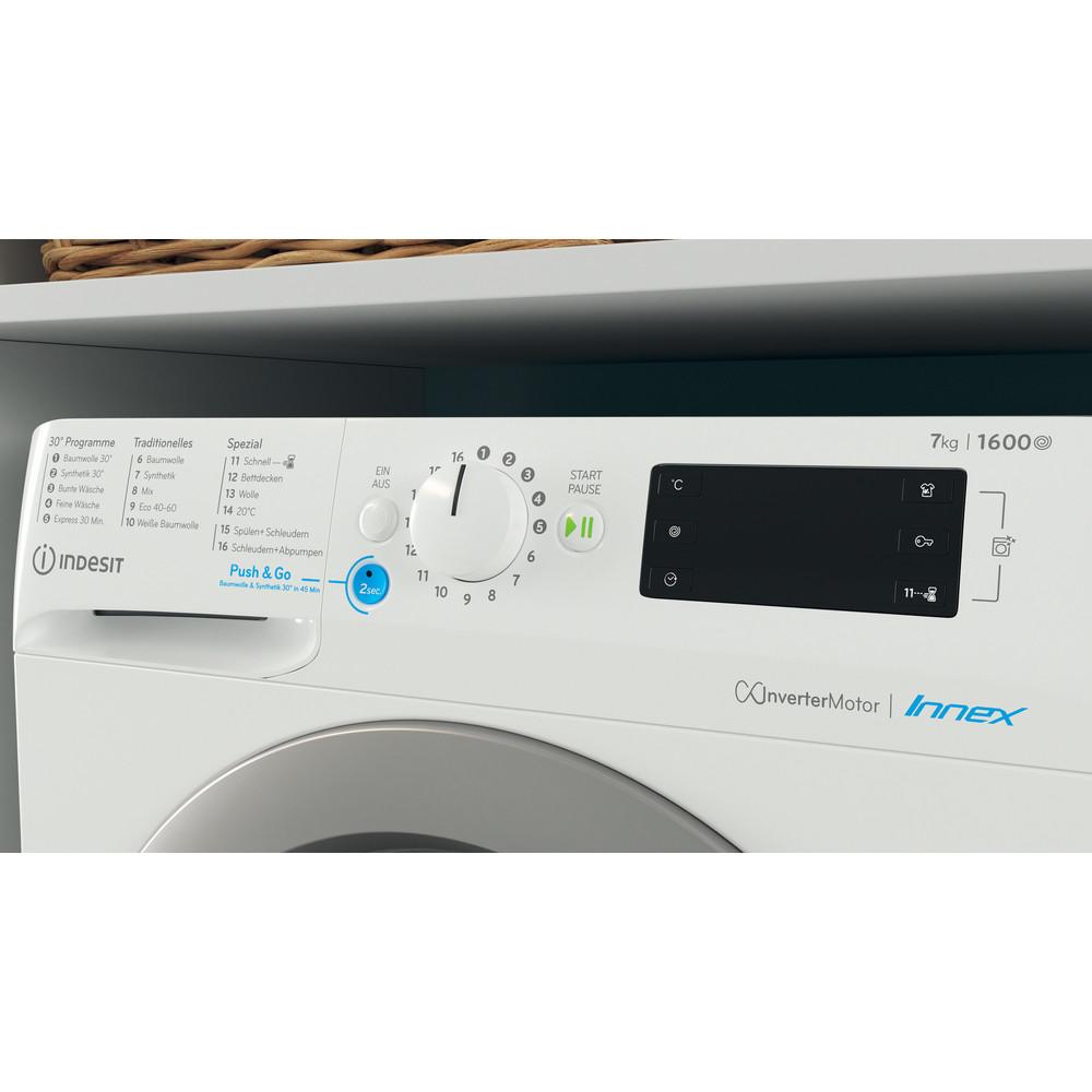 Indesit Waschmaschine Freistehend BWE 71682XE WS DE N Weiß Frontlader E Lifestyle control panel
