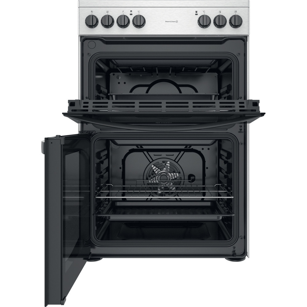 Indesit Double Cooker ID67V9HCCX/UK Inox A Frontal open