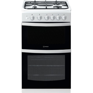Indesit Double Cooker ID5G00KCW/UK White A+ Enamelled Sheetmetal Frontal