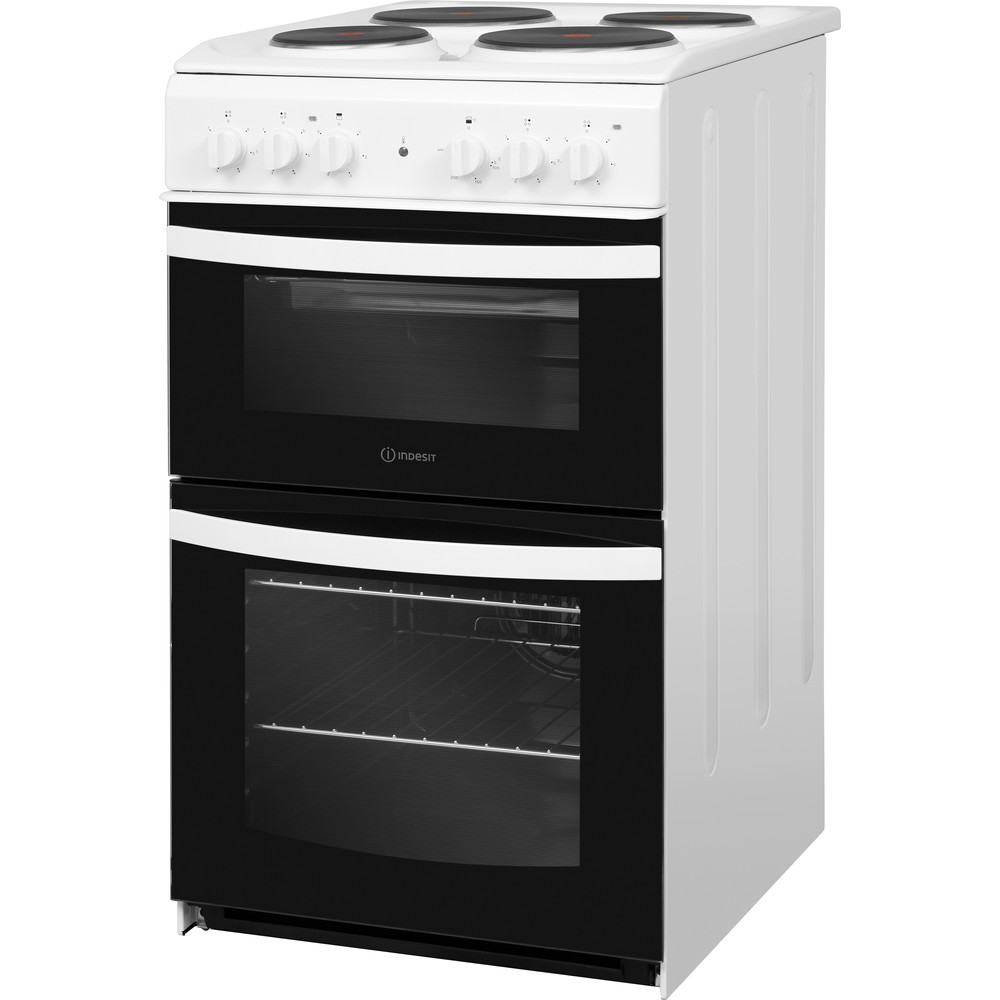 Indesit Double Cooker ID5E92KMW/UK White A Enamelled Sheetmetal Perspective