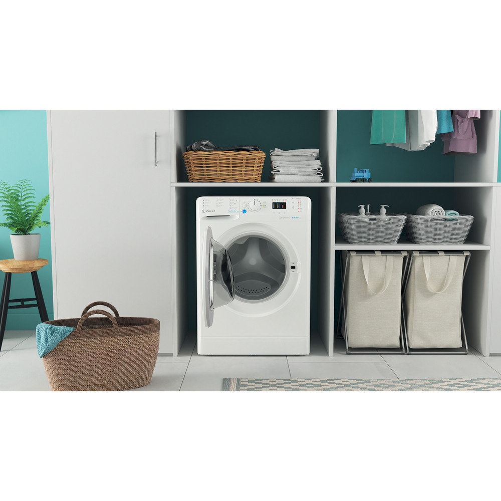 Indesit Washing machine Free-standing BWA 81484X W UK N White Front loader C Lifestyle frontal open