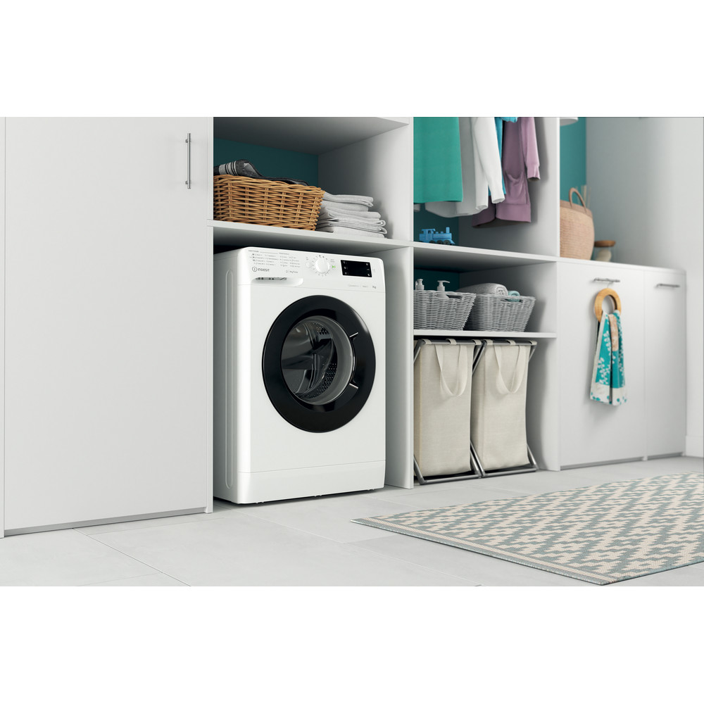 Indesit Wasmachine Vrijstaand MTWE 71483 WK EE Wit Voorlader A+++ Lifestyle perspective