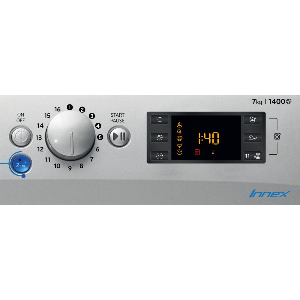 Indesit Washing machine Free-standing BWE 71452 S UK N Silver Front loader E Control panel