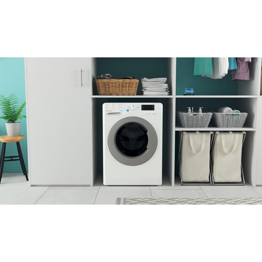 Indesit Máquina de lavar e secar roupa Livre Instalação BDE 961483X WS SPT N Branco Carga Frontal Lifestyle frontal