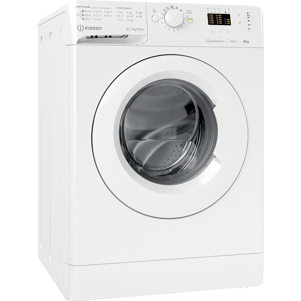 Indesit Vaskemaskine Fritstående MTWA 81483 W EU Hvid Frontbetjent D Perspective
