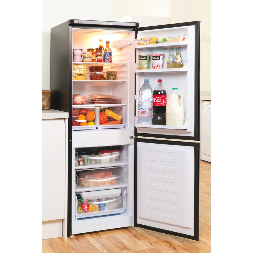 Indesit Fridge-Freezer Combination Free-standing IBD 5515 B 1 Black 2 doors Lifestyle perspective open