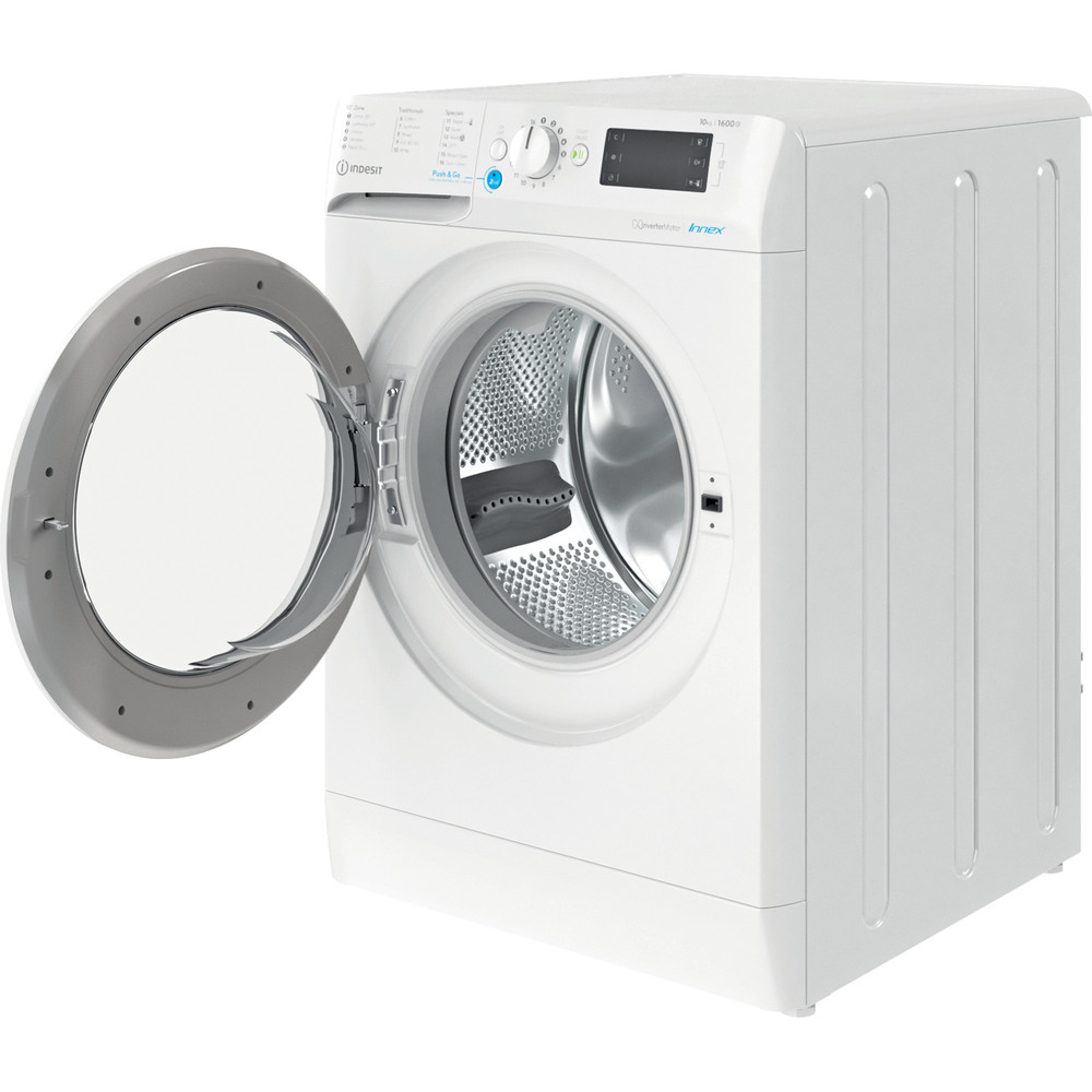 Indesit Washing machine Free-standing BWE 101683X W UK N White Front loader D Perspective open