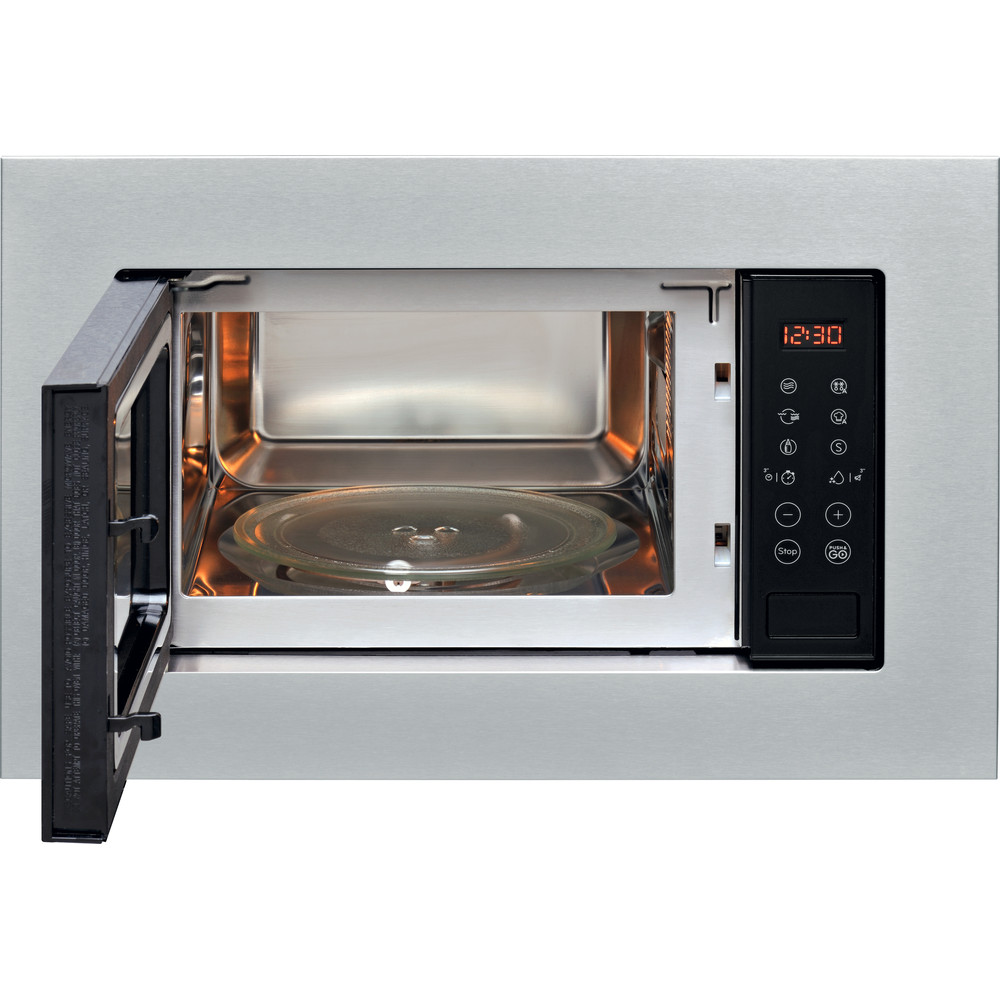 Indesit Microonde Da incasso MWI 120 GX Stainless Steel Elettronico 20 Microonde + grill 800 Frontal open