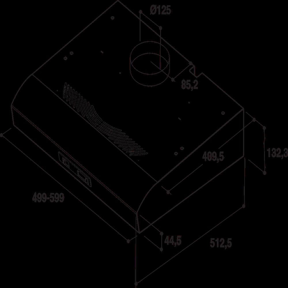 Whirlpool väggmonterad köksfläkt - AKR 657 NB