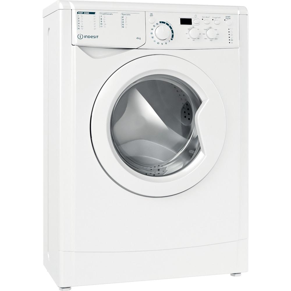 Indesit Veļas mazgājamā mašīna Brīvi stāvošs EWUD 41051 W EU N Balts Priekšējās ielādes F Perspective