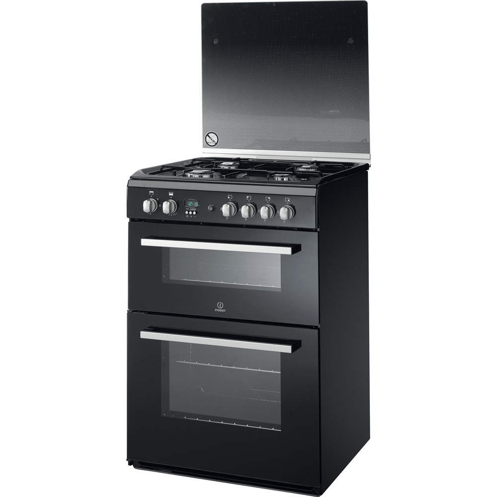 Indesit Double Cooker DD60G2CG(K)/UK Black A+ Enamelled Sheetmetal Perspective