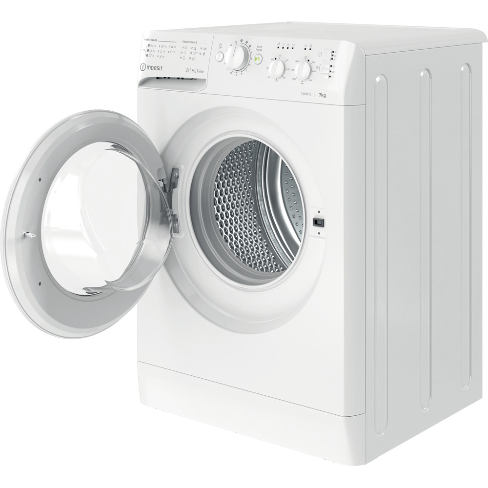 Indesit Lave-linge Pose-libre MTWC 71452 W EU Blanc Frontal E Perspective open