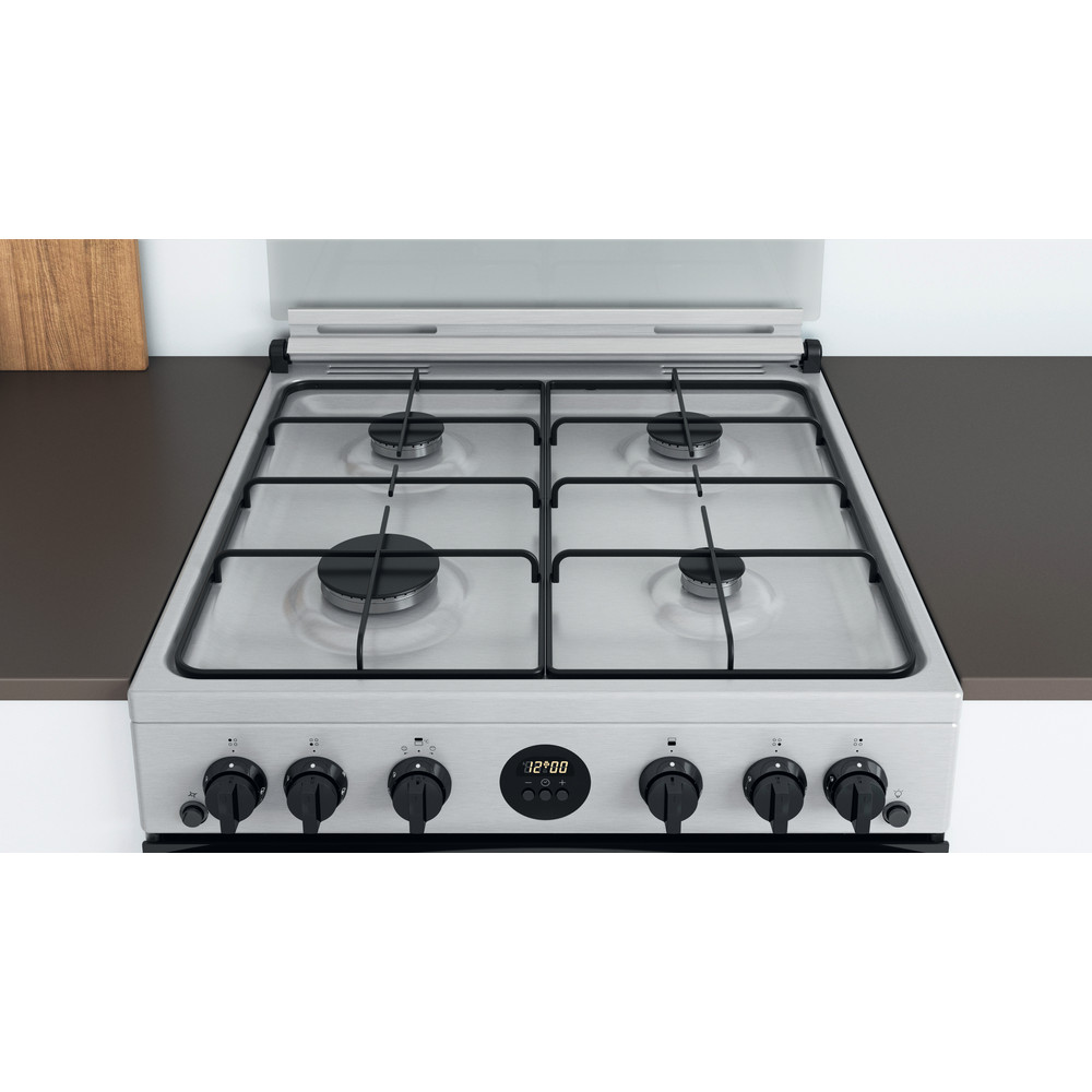 Indesit Double Cooker ID67G0MCX/UK Inox A+ Lifestyle frontal top down