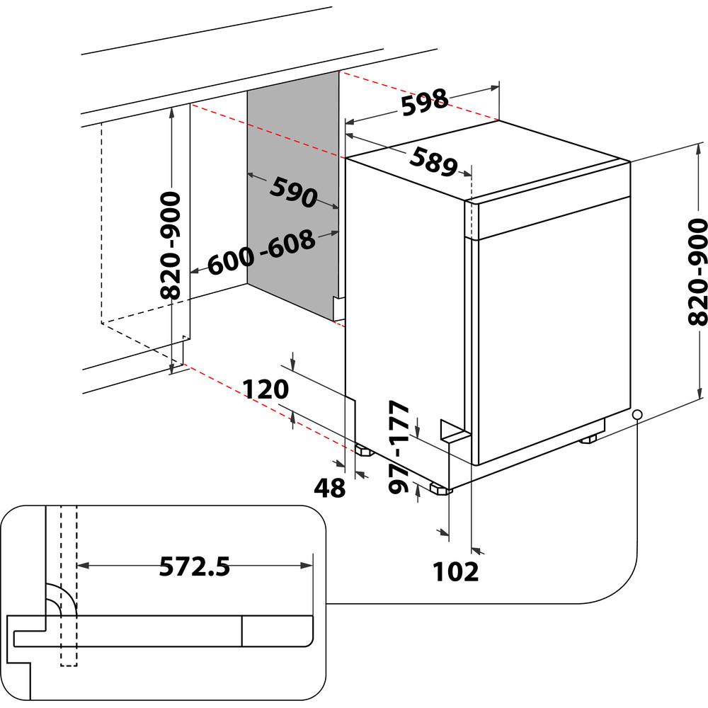 Indesit Astianpesukone Kalusteisiin sijoitettava DUC 2C24 AC X Työtason alle E Technical drawing