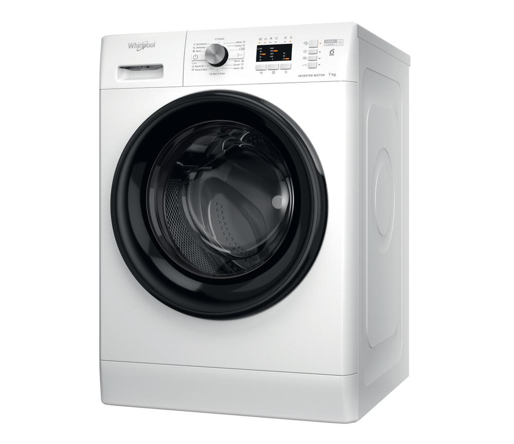 Whirlpool Maşină de spălat rufe De sine statator FFL 7038 B EE Alb Încărcare frontală D Perspective