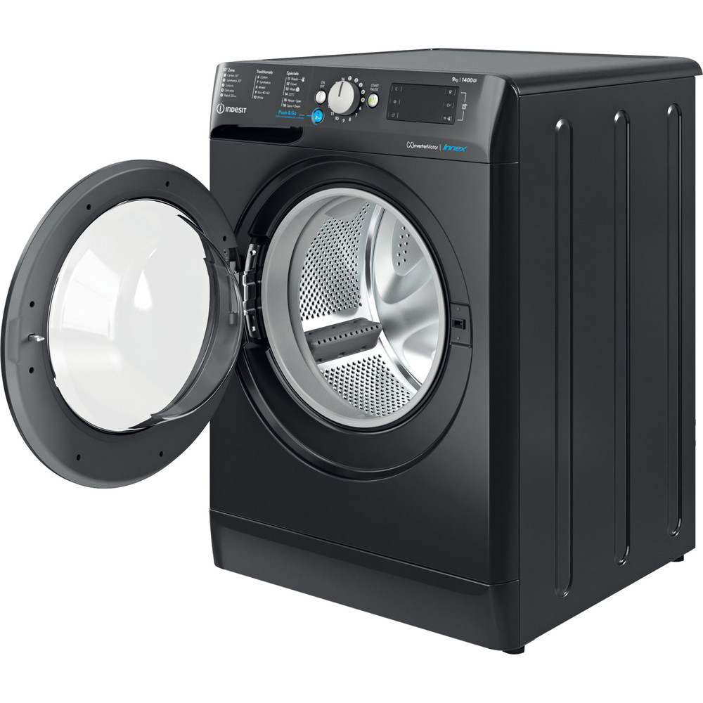 Indesit Washing machine Free-standing BWE 91483X K UK N Black Front loader D Perspective open