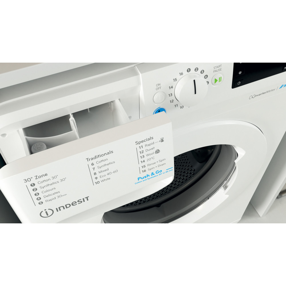 Indesit Washing machine Free-standing BWE 101683X W UK N White Front loader D Drawer