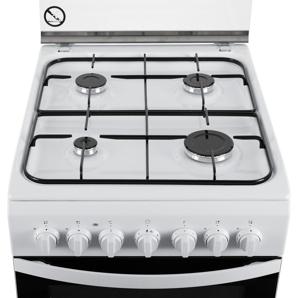 Indesit Fornuis IS5G5PHW/NL Wit Gas Frontal top down