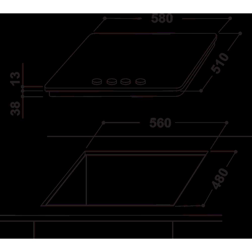 Indesit Варильна поверхня THP 641 W/IX/I EE Нержавіюча сталь Газова Technical drawing