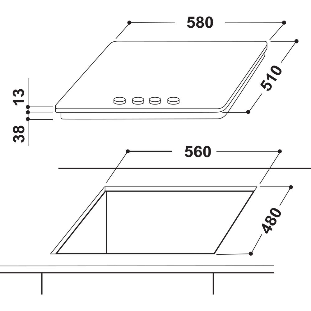 Indesit Варочная поверхность THP 642 IX/I EE Inox Газовая Technical drawing