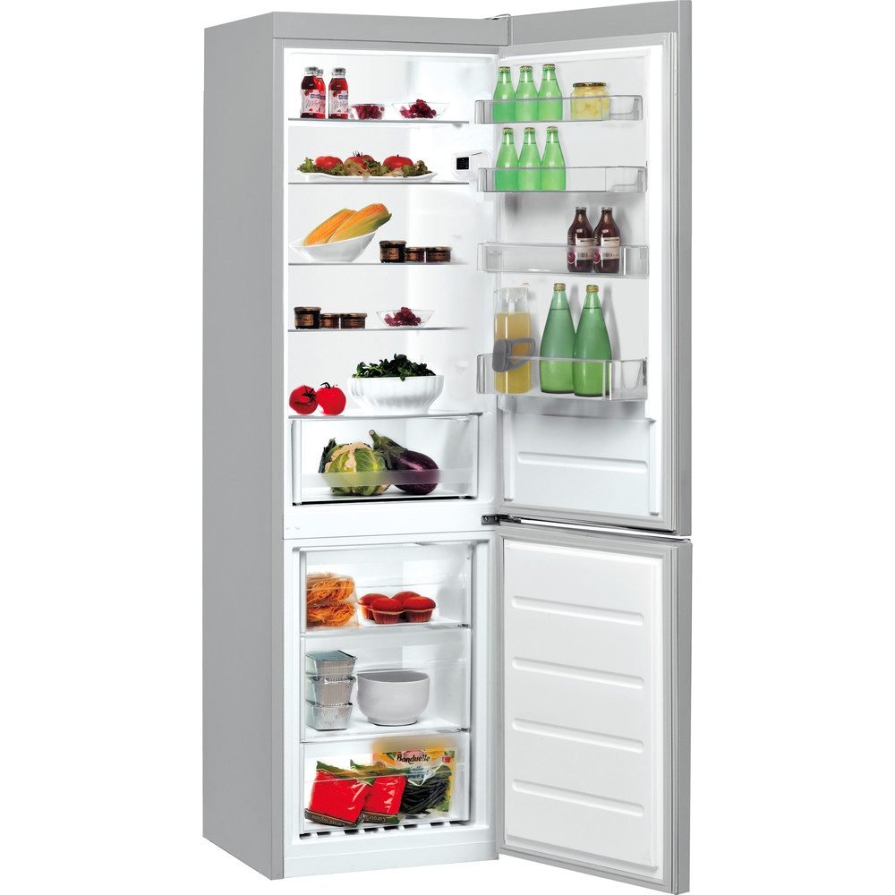 Indesit Kombinerat kylskåp/frys Fristående LI9 S1E S Silver 2 doors Perspective open
