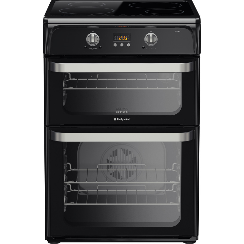 Hotpoint Double Cooker HUI612 K Black A Vitroceramic Frontal