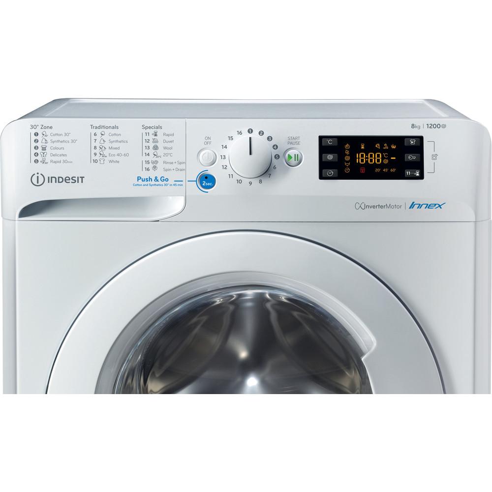 Indesit Перална машина Свободностоящи BWE 81284X W EE N Бял Предно зареждане C Control panel