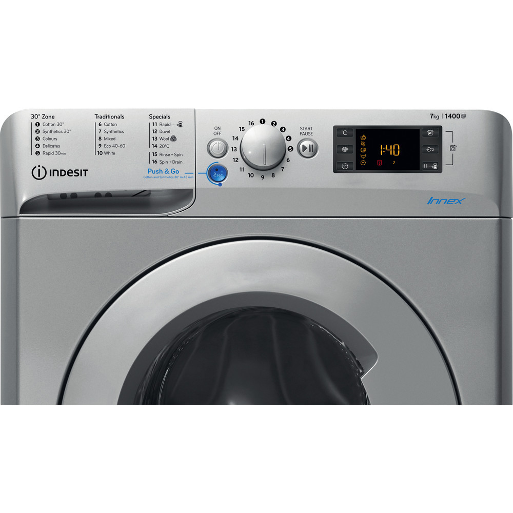 Indesit Washing machine Free-standing BWE 71452 S UK N Silver Front loader A+++ Control panel