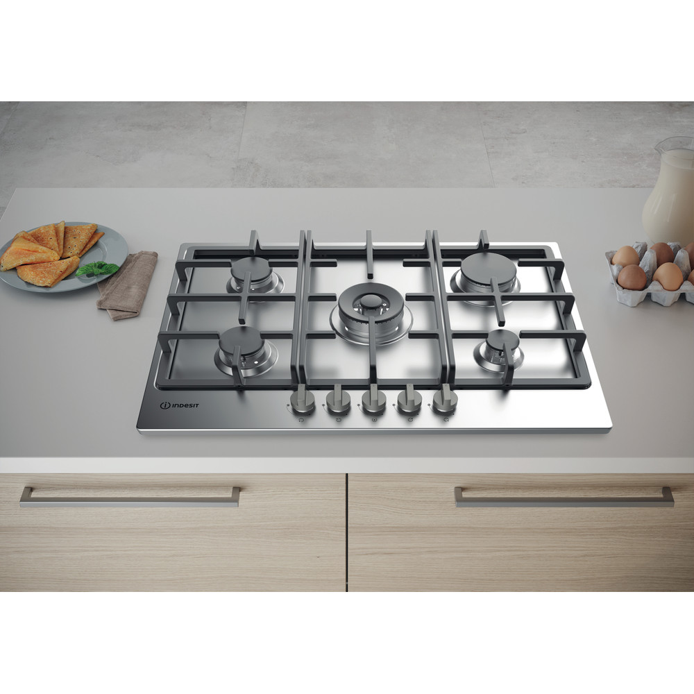 Indesit HOB THP 751 W/IX/I Inox GAS Lifestyle frontal top down