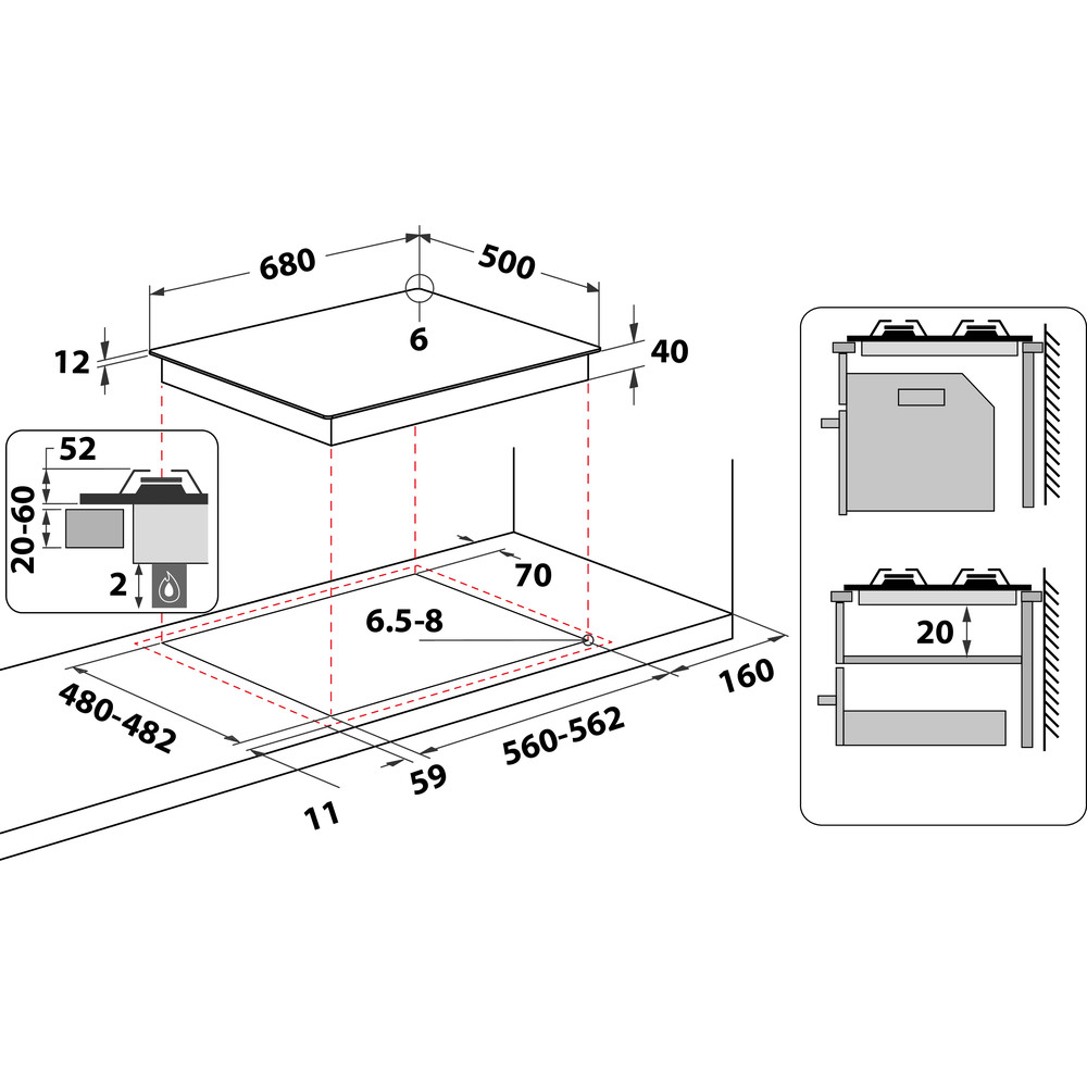 Indesit Piano cottura BB 752 /I (AV) Avena GAS Technical drawing