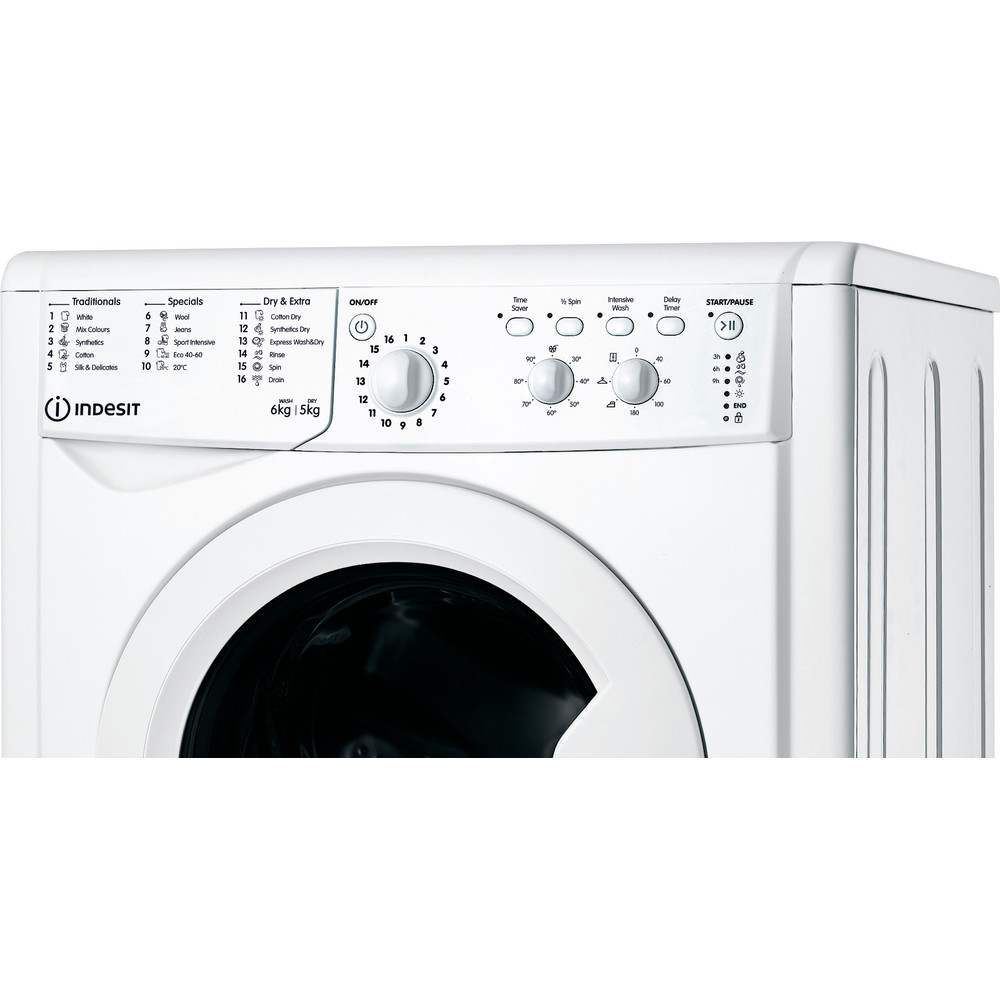 Indesit Washer dryer Free-standing IWDC 65125 UK N White Front loader Control panel