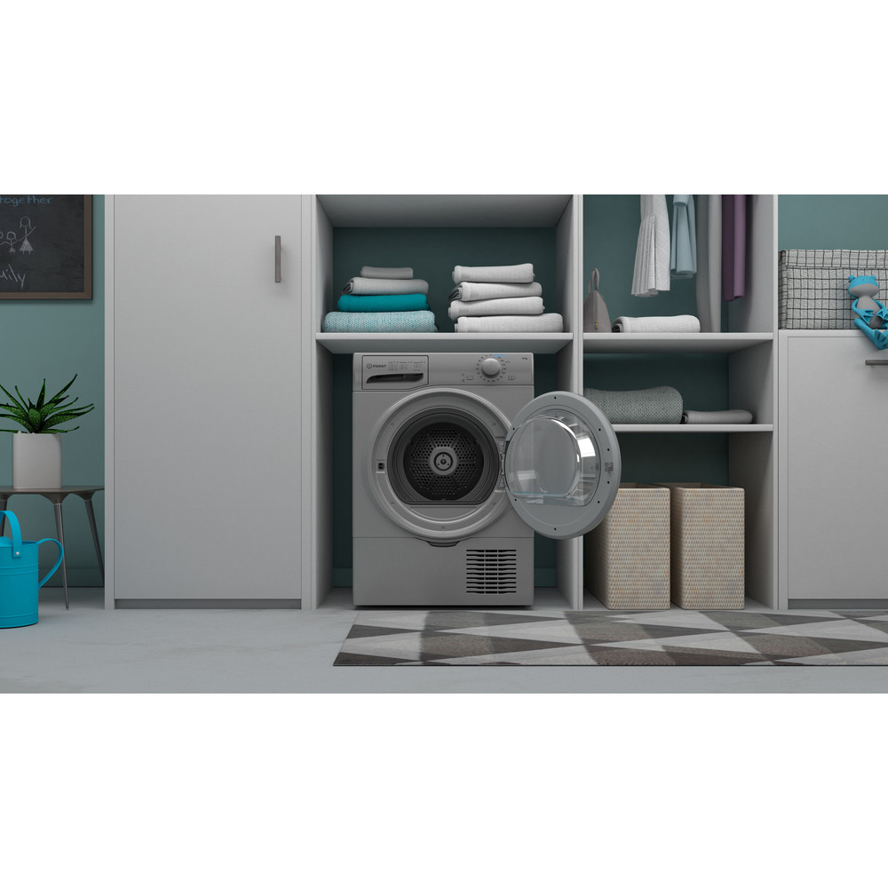 Indesit Dryer I2 D81S UK Silver Lifestyle frontal open