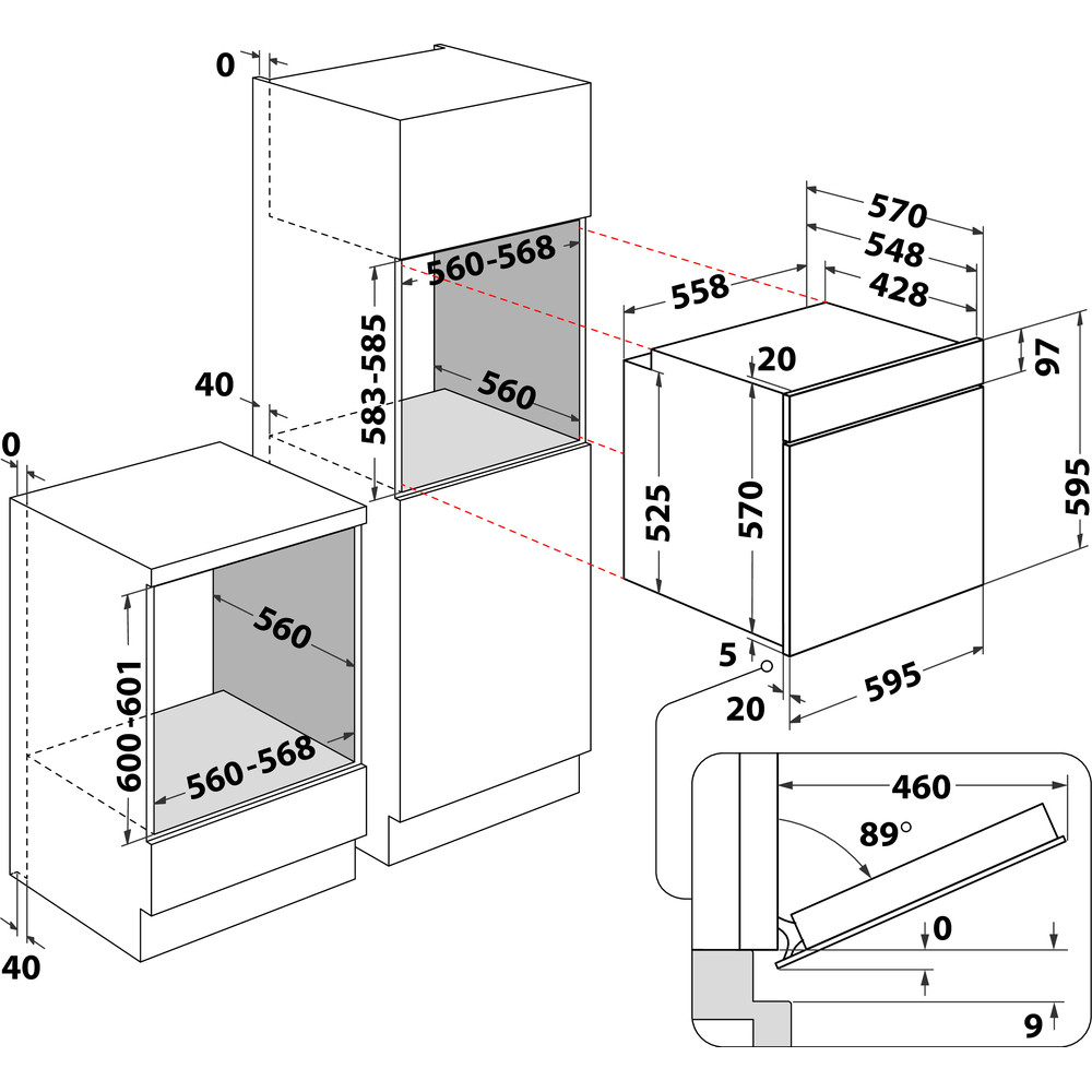 Indesit pećnica ugradbeni IFW 6841 JH IX Električna A+ Technical drawing