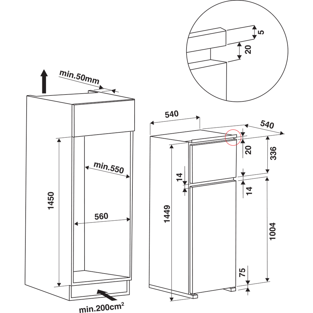 Indesit Combinazione Frigorifero/Congelatore Da incasso IN D 2425 Bianco 2 porte Technical drawing