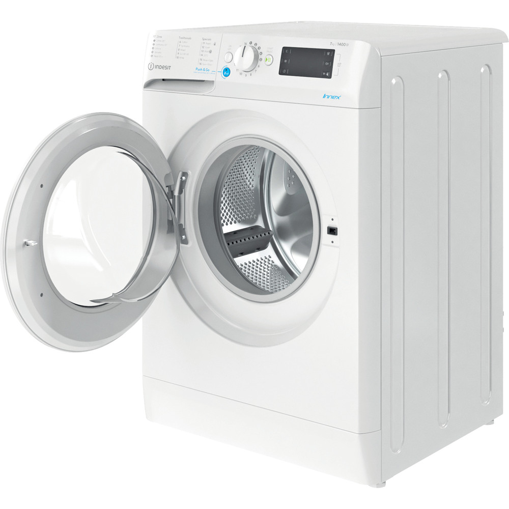 Indesit Washing machine Free-standing BWE 71452 W UK N White Front loader E Perspective open