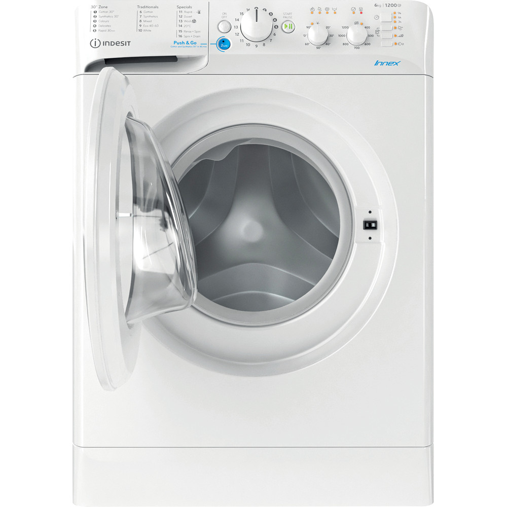 Indesit Washing machine Free-standing BWSC 61251 XW UK N White Front loader F Frontal open