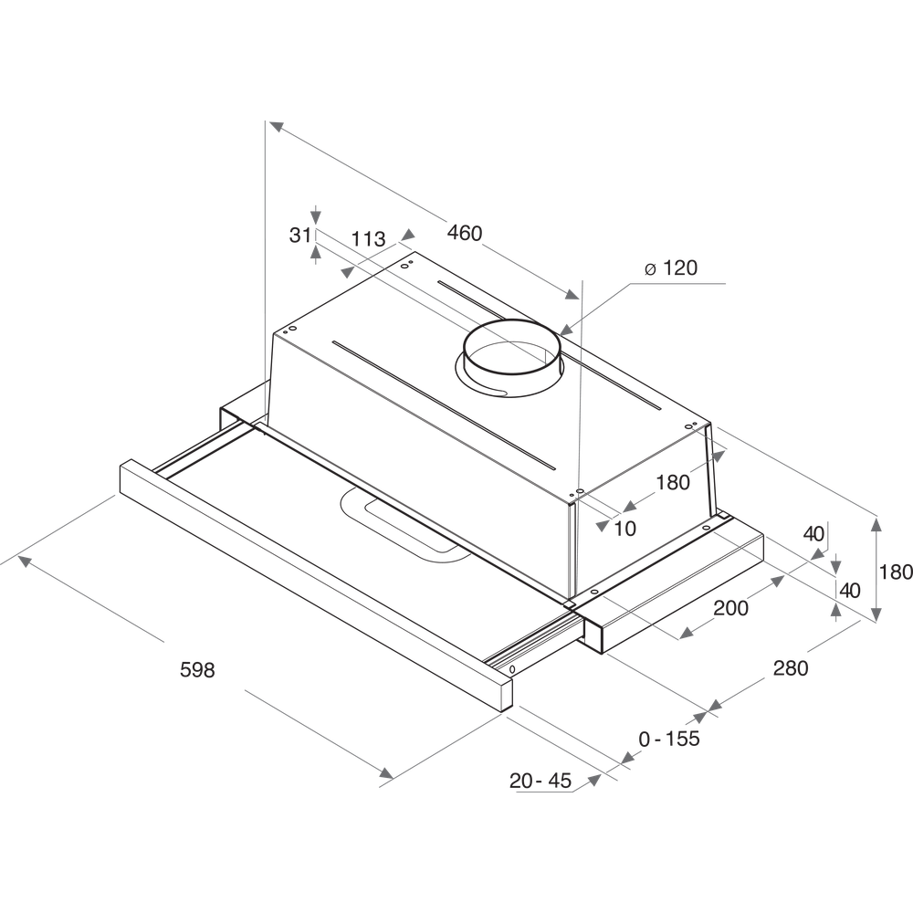 Indesit Odsávač pár/Digestor Vstavané H 461 IX.1/1 Nerezová Vstavané Mechanické Technical drawing