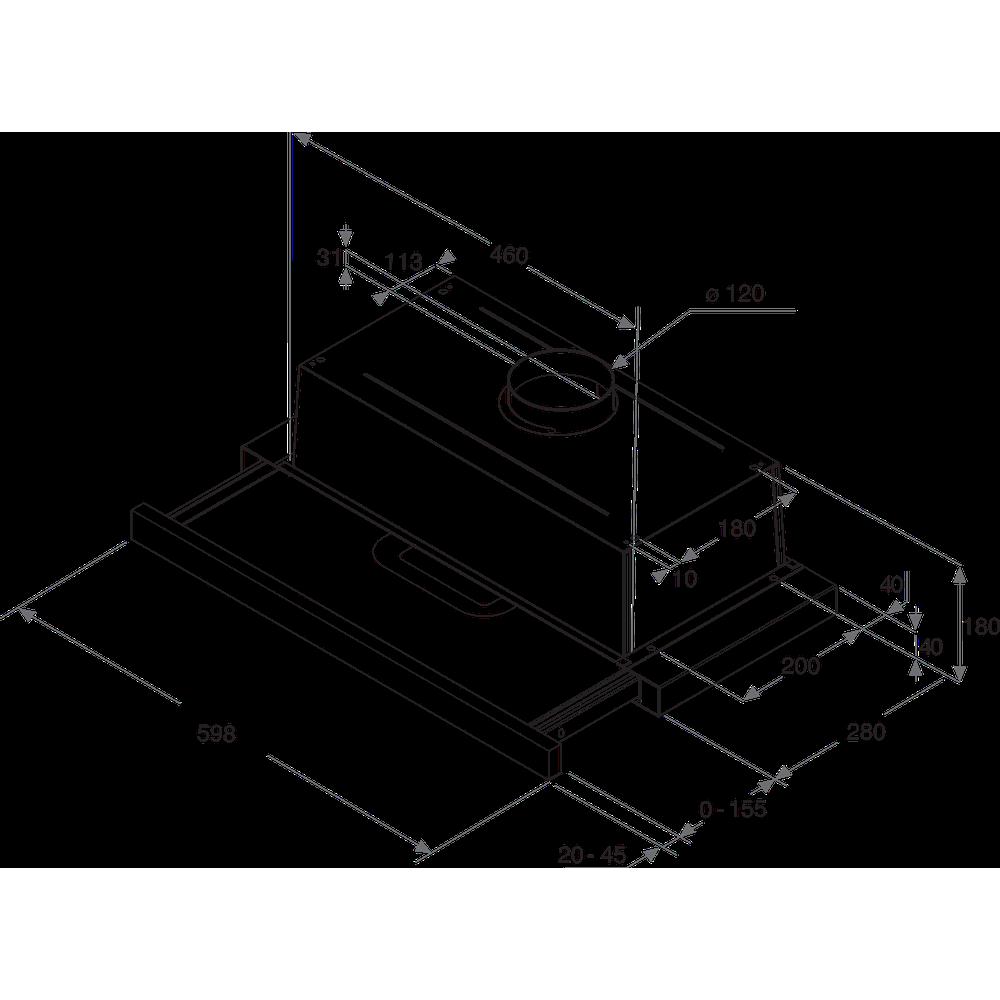 Indesit Odsávač pár/Digestor Vstavané H 461 X/1 H2G Nerezová Vstavané Mechanické Technical drawing