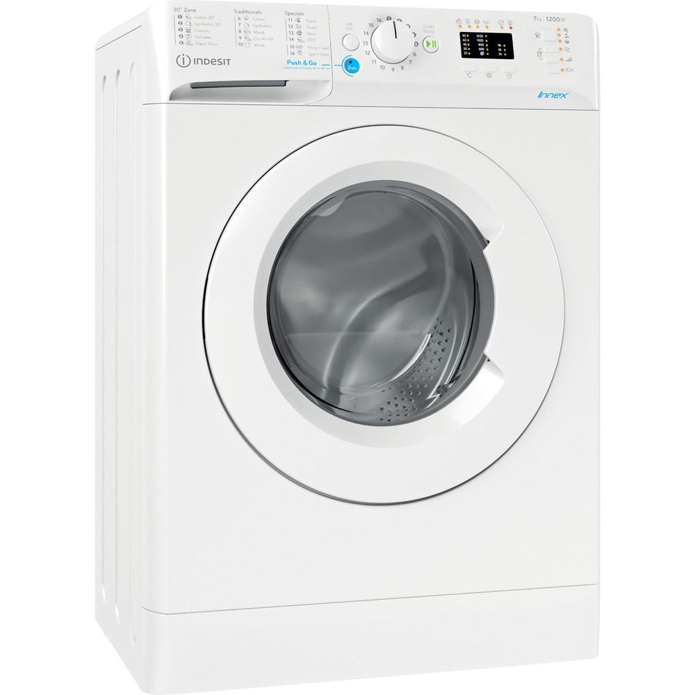 Indesit Перална машина Свободностоящи BWSA 71251 W EE N Бял Предно зареждане E Perspective