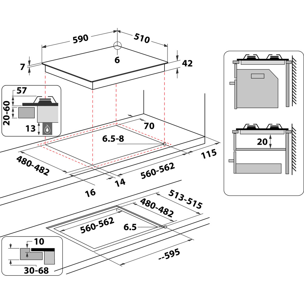Indesit Placa ING 61T/BK Preto Gás Technical drawing