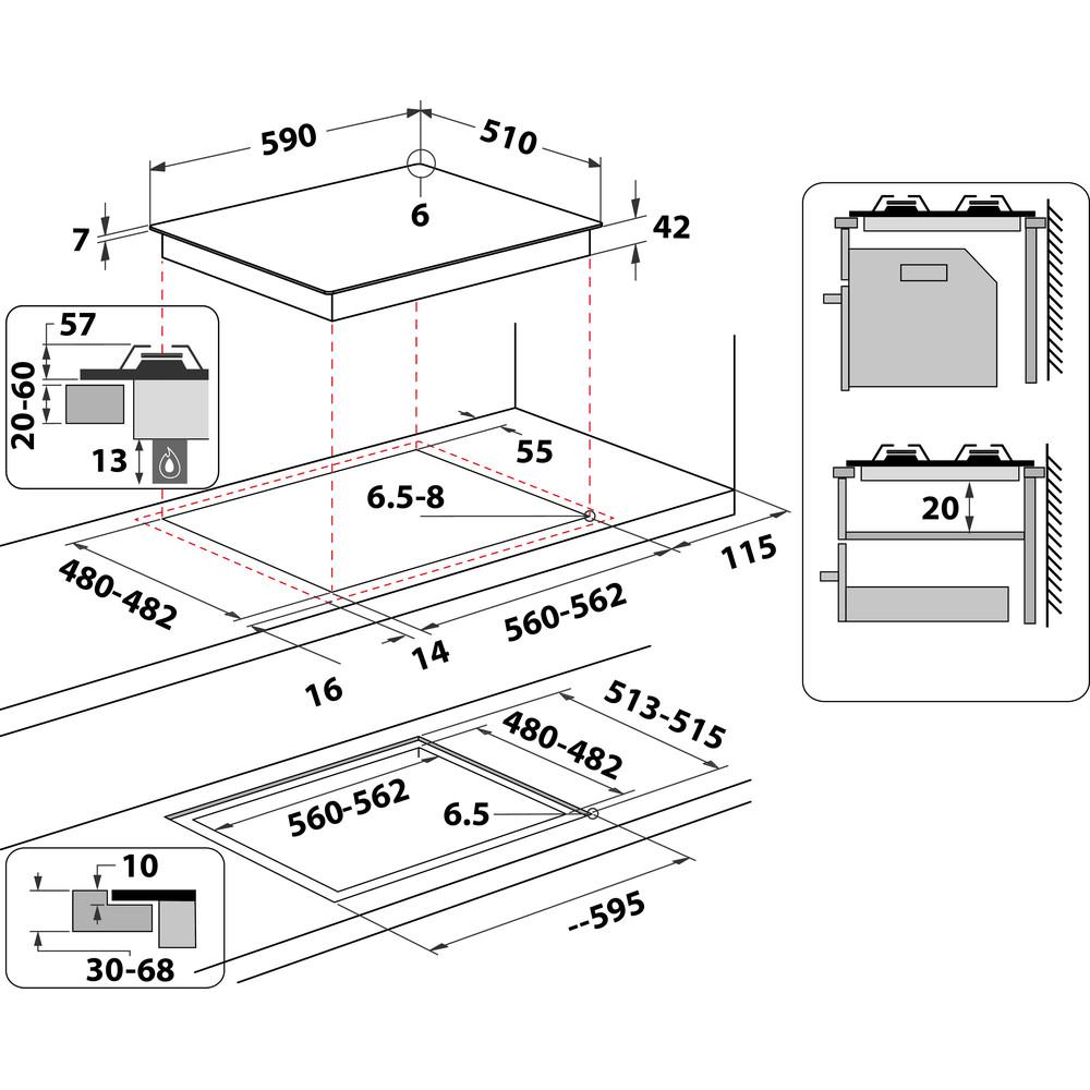 Indesit Varná doska ING 61T/BK Čierna Plyn Technical drawing