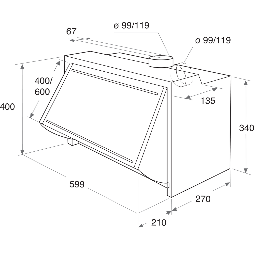 Indesit Απορροφητήρας Εντοιχιζόμενο IAEINT 66 LS GR Γκρι Εντοιχιζόμενο Μηχανική Technical drawing