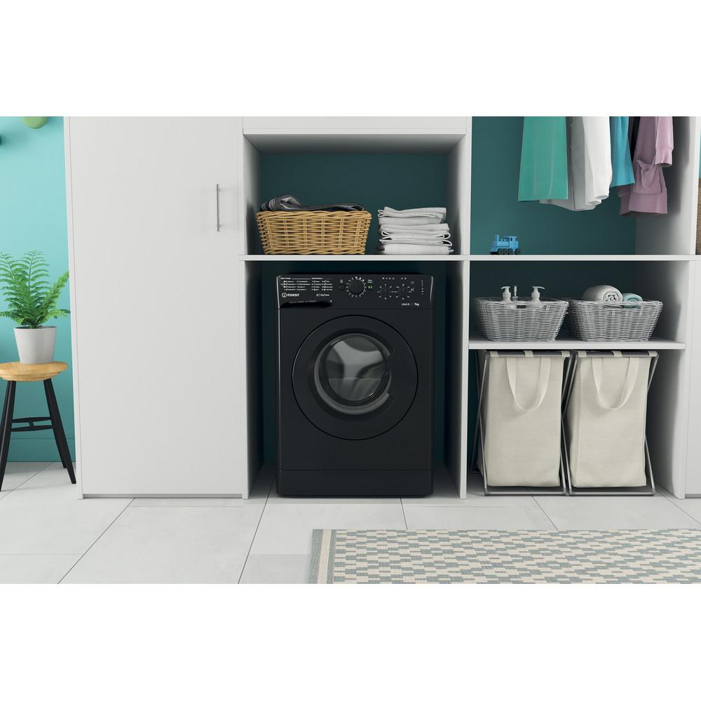 Indesit Washing machine Free-standing MTWC 71252 K UK Black Front loader E Lifestyle frontal